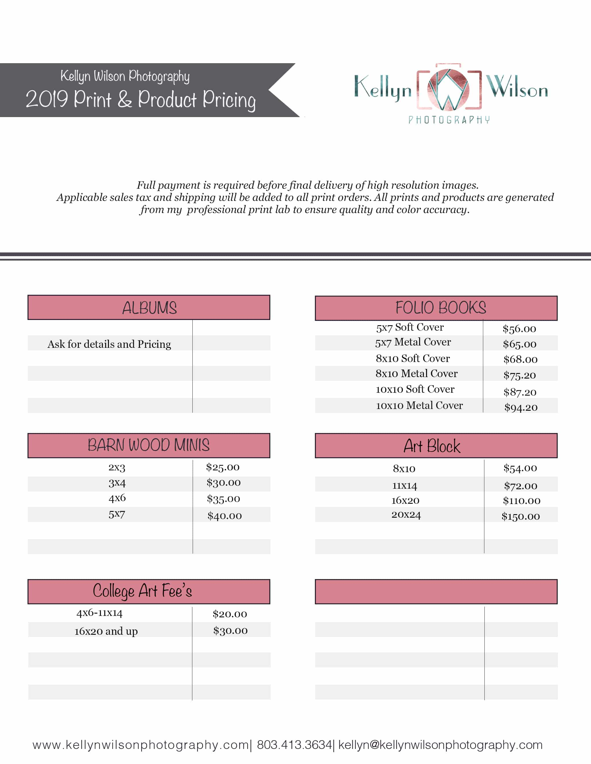 Kellyn Wilson Photography Print and Product Pricing