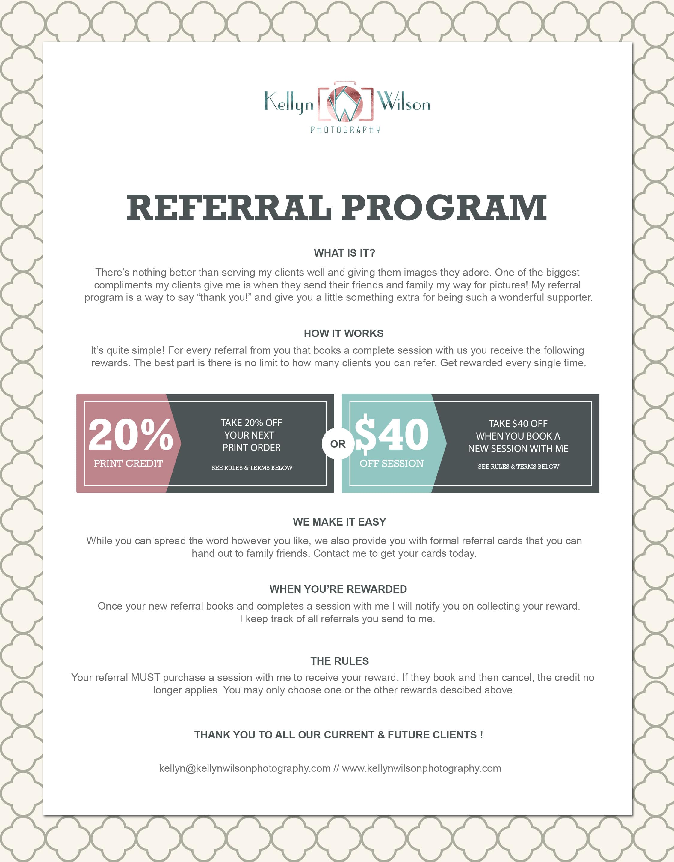 Kellyn Wilson Photography | Referral Program