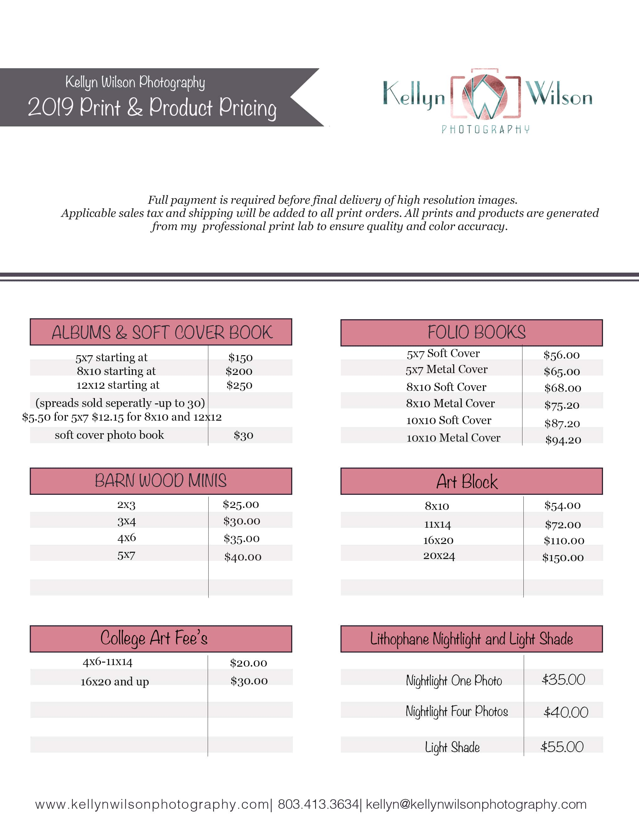 Pricing | Kellyn Wilson Photography