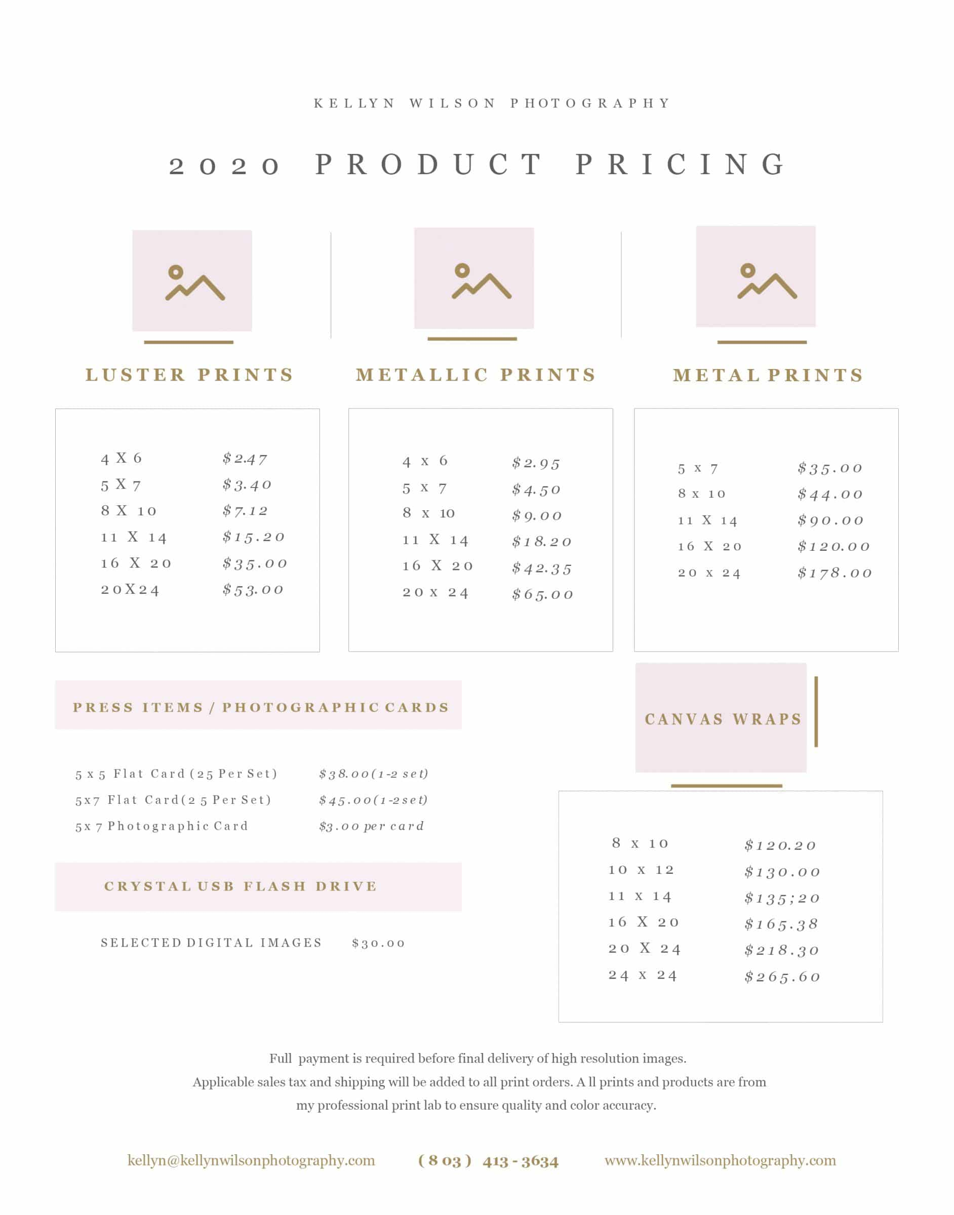 Kellyn Wilson Photography | Print Pricing