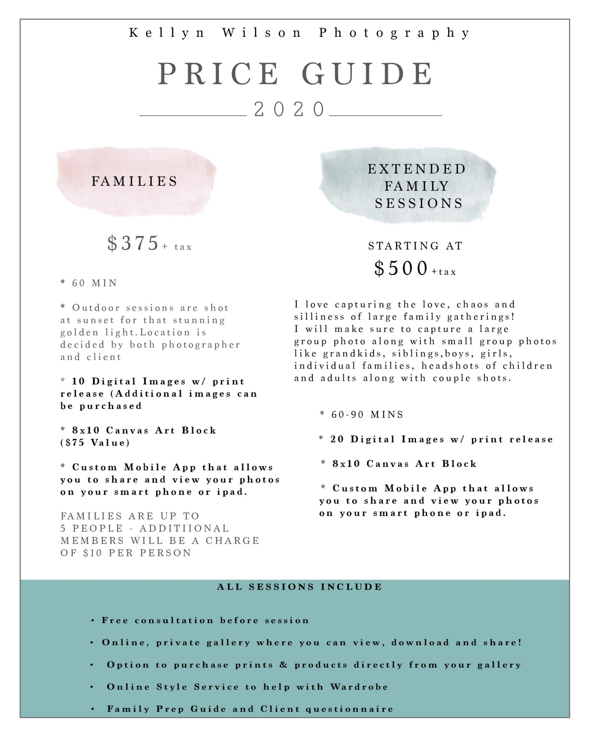 KELLYN WILSON PHOTOGRAPHY | FAMILY PRICING